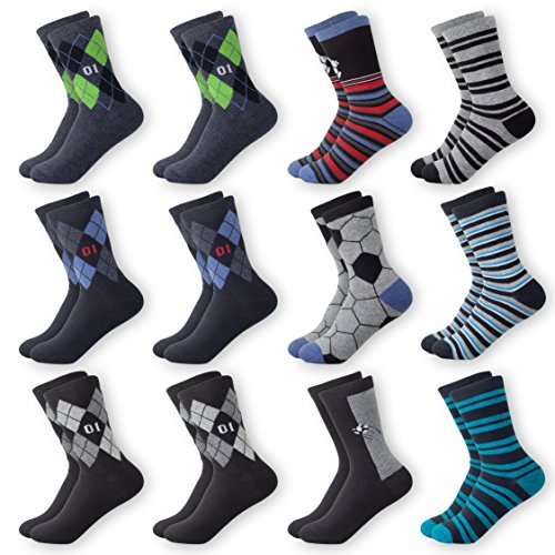 MC.TAM® Herren Jungen Bunte Socken Strümpfe 12 Paar 90% Baumwolle Oeko Tex® Standard 100, 35-38, 12 Paar Jungen Strümpfe