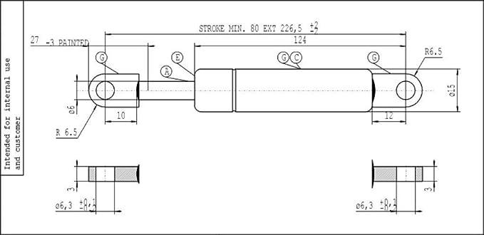 STABILUS2x MOLLA COFANO LIFT-O-MAT ® 320 N sul piatto sinistro 2334bc
