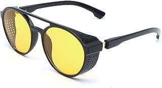 Aviator Round Side Shield Sunglasses Retro Vintage Gothic Steampunk Style Mirrored Lenses for Men/Women UV400