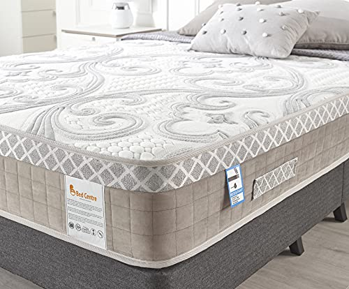 Bed Centre Mattress Hybrid, Mattress King Size, Memory Foam Sprung Mattress with Soft Patterned Fabric Cover Designed for the Ultimate Sleep, Breathable with Back Support (200x150cm)