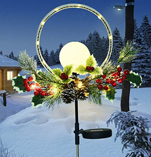 LED Balls and Copper String Lights with Faux Pine Cones, Foliage and Red Berries Solar Christmas Stakes