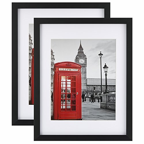 Tempered Glass 2PCs 11x14 Picture Frame with Mats for 8x10, 5x7 Photo, Black Wood Frame for Wall and Tabletop (Mounting Material Included)