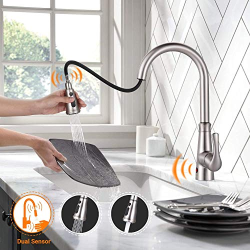 Touch on Kitchen Faucet, Dalmo Touchless Kitchen Faucets with Fingerprints Resistant, Single Handle Sensor Kitchen Sink Faucet with 3 Modes Pull Down Sprayer & Metal Deck Plate