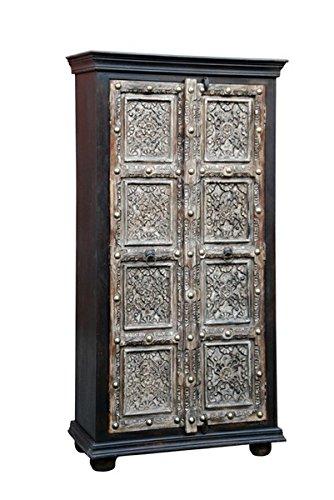 Marrakech Accessoires–Pequeño–Armario ropero cansin 180cm de altura, marroquí Vintage Vestíbulo Armario estrecho | Marrakesch Armarios de Madera Maciza para el piso, Dormitorio, Salón o Baño