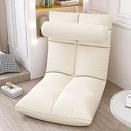 Elegante Sofa Plegable de Suelo Multi-ángulo,Silla Plegable de Suelo Acolchada Regulable con Respaldo para el Hogar y la Oficina,Sillon Relax para Meditación o Gaming(Beige)