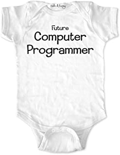 cuteandfunnykids Future Computer Programmer - Cute & Funny Baby one Piece Bodysuit Birth Announcement