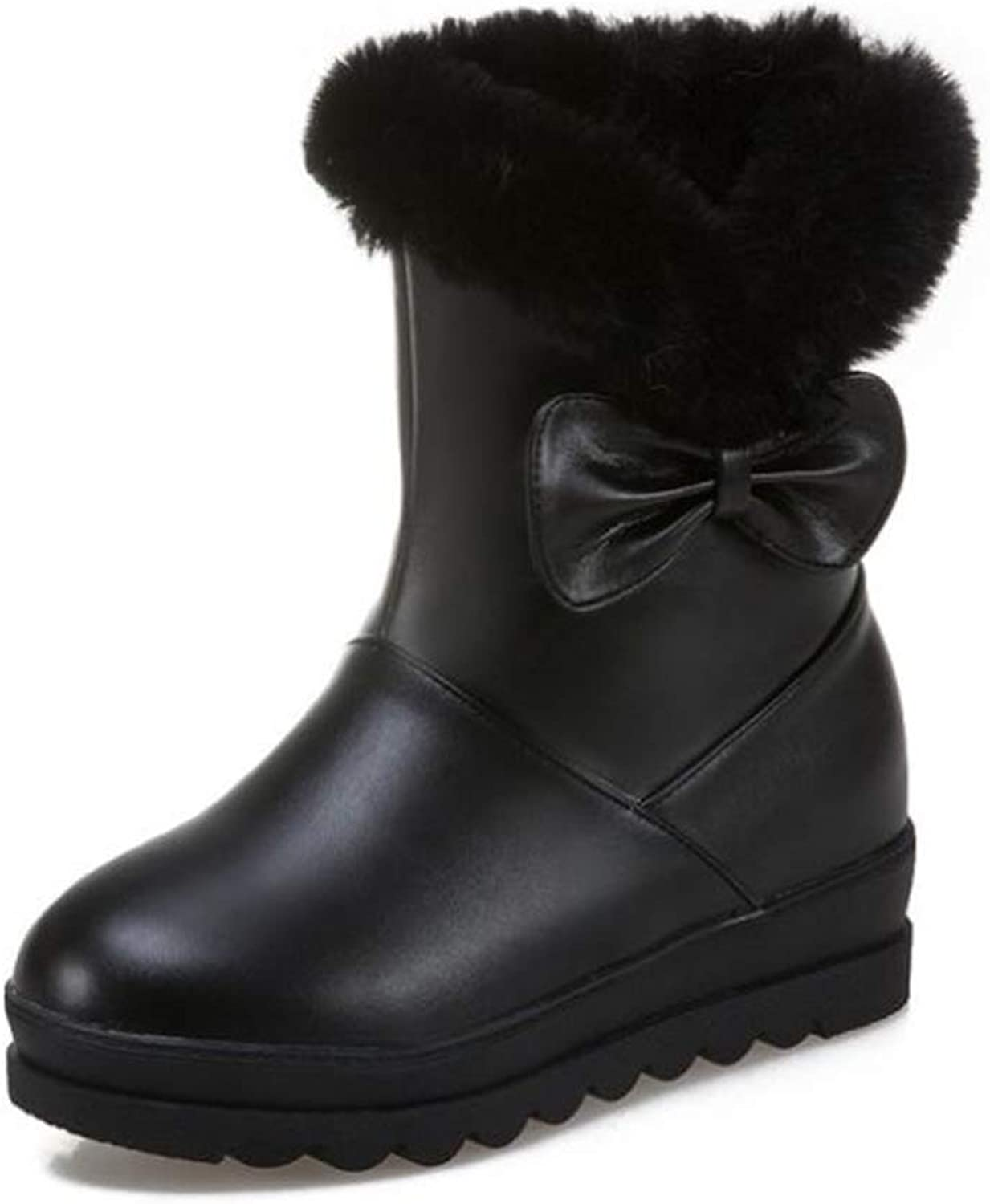 Fancyww Women's Platform Snow Boots Cute Round Toe with Bow Thick Boots