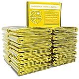 Swiss Safe Emergency Mylar Thermal Blankets + Bonus Gold Foil Space Blanket. Designed for NASA, Outdoors, Survival, First Aid, Gold, 25 Pack