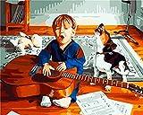 DIY Pintar por números para Adultos Niños Kits Principiantes Pintura para Pintar por números con Pinceles y Colores Brillantes Paint by Numbers para el Hogar Regalo Niño Perro Guitarra 60x80cm