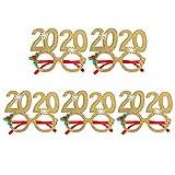 STOBOK 2020 montature per occhiali occhiali da vista per capodanno occhiali per capodanno divertenti,5 pezzi (oro)