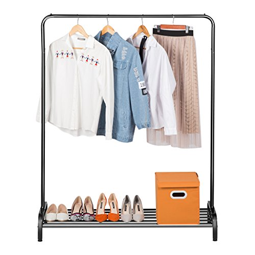 LANGRIA Clothing Garment Rack Heavy Duty Commercial Grade Clothes Stand Rack with Top Rod and Lower Storage Shelf for Boxes Shoes Boots 457 x 157 x 571 inches Black