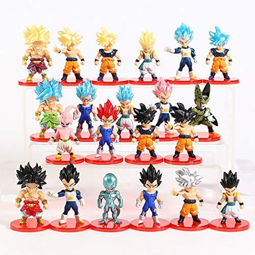 Lote de 21 Figuras de Dragon Ball DBZ DBS DB GT PVC Personajes de Goku Gotenks Broly Vegeto Cooler Majin Boo Vegeta Freezer Gogeta Gohan Celula Cell 5-9 cm Aprox tamano Figuras