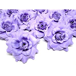 (24) Silk Purple Roses Flower Head – 1.75″ – Artificial Flowers Heads Fabric Floral Supplies Wholesale Lot for Wedding Flowers Accessories Make Bridal Hair Clips Headbands Dress