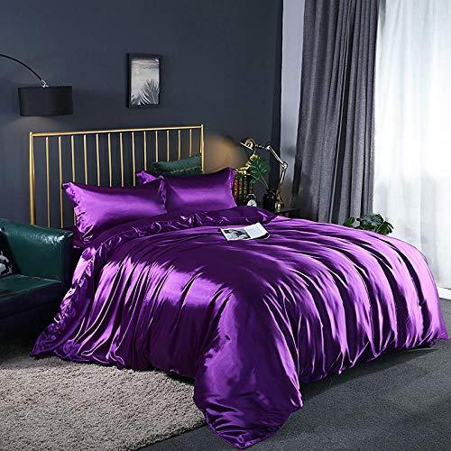 Bedding-LZ Juego de Funda de edredón Cama Matrimonio,Lavado de Doble Cara Lavado Seda Slide Quilt Set de Cuatro Piezas-1,8 m de Cama (4 Piezas)_J
