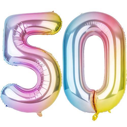 SMARCY Palloncini Gonfiabile Numero 50 Palloncini Compleanno 50 Anni Decorazioni Compleanno Arcobaleno