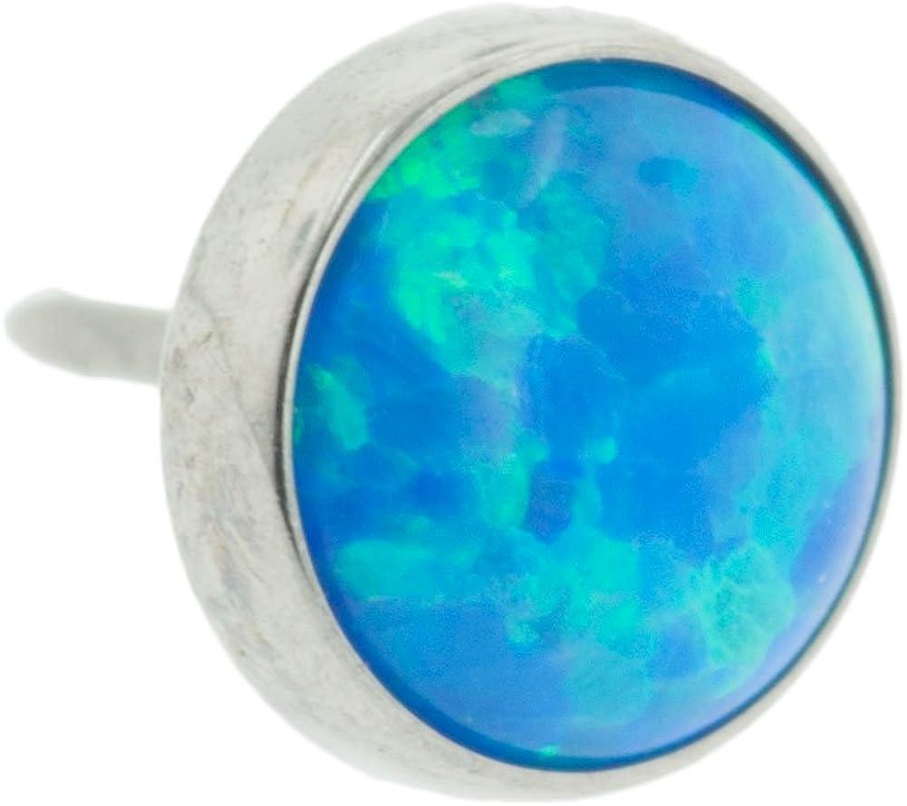 Steel Navel Body Jewelry Threadless Titanium Synthetic Opal Cabochon End: 18g High Polish, Gem: 4mm, Capri Blue Opal Gem