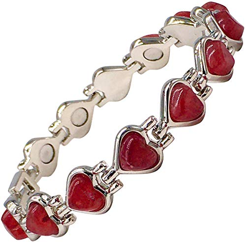 Magnetic Therapy Bracelet for Women with Red Agate Gemstones Fits Wrists up to 18 cm 7.0 inches - Great for Arthritis, Natural Pain Relief Menopause Symptoms by Helena Rose Jewellery