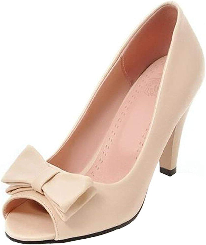 Gcanwea Women's Sweet Bowknot Peep Toe Slip On OL Work shoes Chunky High Heel Slip On Sandals Black 4 M US