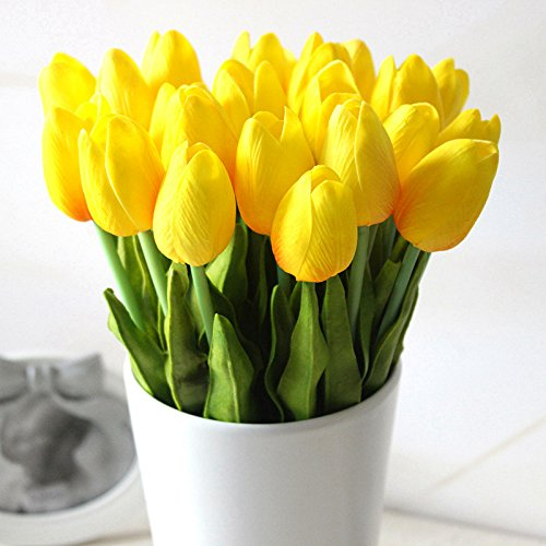 Supla Artificial Flowers 20 heads Real Touch Tulips in Yellow PU Tulips Flowers Arrangement Bouquet Wedding Bouquets Home Room Office Centerpiece Party Wedding Decor (yellow)(vase not included)
