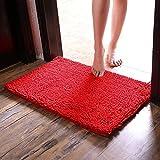 CAIHONG Home - Alfombra de baño de chenilla original (80 x 50 cm), extra suave y absorbente, lavable a máquina/seca, alfombra de felpa perfecta para bañera, ducha y baño, color rojo