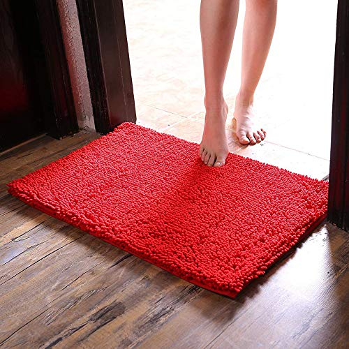 CAIHONG Tapis de bain original en chenille 80 x 50 cm Tapis de salle de bain extra doux et absorbant, lavable en machine, parfait tapis en peluche pour baignoire, douche et salle de bain - Rouge