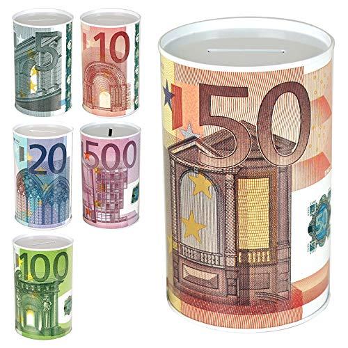 TW24 Spardose Euro Design mit Größenauswahl - Sparbüchse - Sparschwein - Euroschein Dose - Kinder Metallspardose (klein)