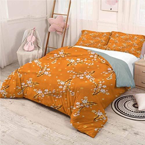 Floral Bed Sheets Set Full, Microfiber Sheet Set Cherry Tree Blossoms Soft Bedding - Full 80'x90'