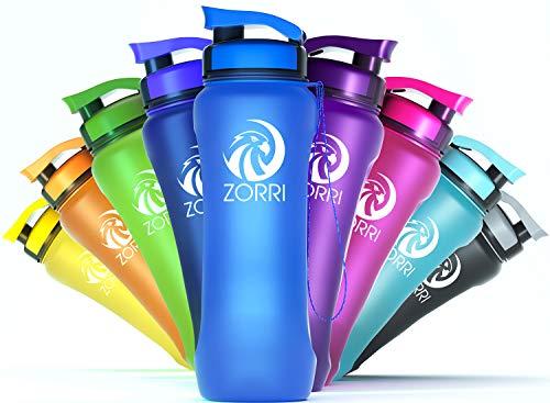 ZORRI Butelka na napoje o pojemności 1 l, 800 ml, 600 ml, 1,2 l, butelka sportowa z tworzywa sztucznego z filtrem i szczotką do butelek, dla dzieci, do uprawiania sportu, na rower, smukła butelka na wodę z tritanu – lekka, trwała