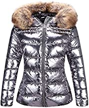 Bellivera Women's Puffer Jacket Warm Coat Hooded with Fur Collar 7695 Silver S