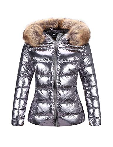 Bellivera Women's Ultra Lightweight Puffer Coat,Metallic Shiny Jacket with Detachable Fur Collar Warmth Outerwear Silver X-Small