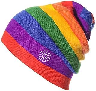 Fugift Gorro de esquí de punto para mujer y hombre, diseño de rayas, color de contraste, para exteriores, hip hop, senderi...