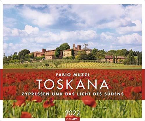 Toskana - Zypressen und das Licht des Südens Kalender 2022 - Reisekalender - Wandkalender mit internationalem Monatskalendarium - 12 Farbfotos - 55 x 46 cm