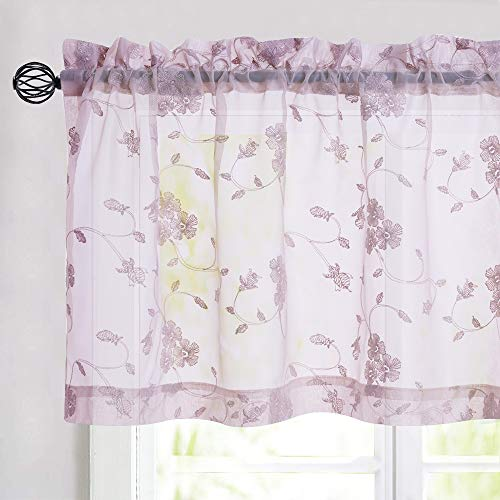 Lilac Sheer Valance Curtains for Bathroom Rod Pocket Top Curtain Panels Drapery for Short Basement Windows 16 Inch Length for Kitchen Living Room Sold Individually