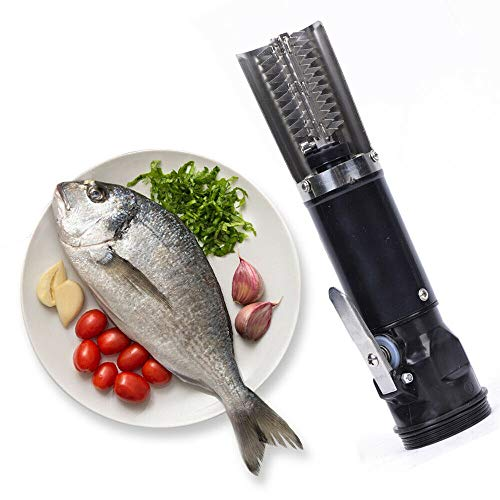Rechargeable Cordless Electric Fish Scaler Remover Machine, Stainless Steel Fish Scraper Tool,...