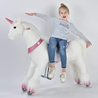 UFREE Ride on Unicorn, Large Mechanical Rocking Horse Toy, Ride on Bounce up and Down and Move, 44 inch for Children 6 Years to Adult (White Unicorn with Pink Horn)
