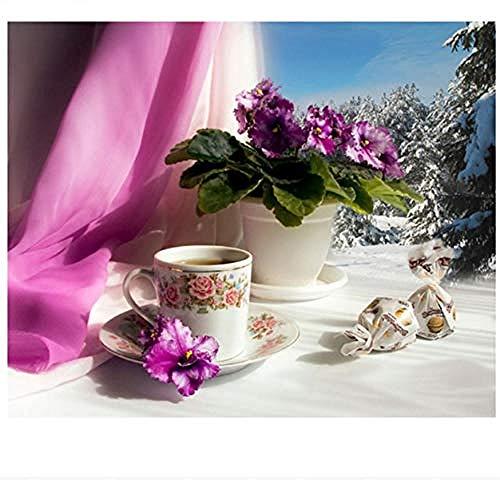 nobrand Puzzle 1000 Teile Puzzles 1000 Stück, Fensterbank Blumentopf Kaffee, DIY Home Decor Puzzle Erwachsene Kinder Geschenk Spielzeug Spiel