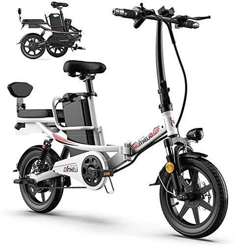 Bicicleta Eléctrica Plegable Compacto Bicicleta eléctrica Scooter 350W 14 pulgadas Ciudad Bicicleta eléctrica Obra urbana Trabajo de luz de la luz Variable Adulto Portátil para adultos y adolescentes