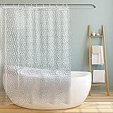 Duschvorhang Transparent 180x200 cm, 3D PEVA Shower Curtains Duschvorhänge Badvorhang Durchsichtig Anti Schimmel, Duschvorhang Wasserdicht mit 12 Duschvorhangringe für Badezimmer Badewanne