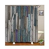 Bishilin Polyester-Stoff 3D Duschvorhang Vintage Brett Dekoration 3D Lustiger Duschvorhang Vintage 180x200