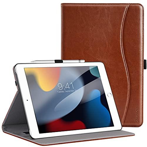 ZtotopHülle Hülle für iPad 9 Generation/8 Generation/7 Generation,Premium Leder Mehrfachwinkel Schutzhülle,Kartensteckplatz,für iPad 10.2 Zoll 2021/2020/2019, Braun