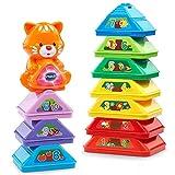 VTech Apila colores, juguete encajable con diez bloques en forma de triángulo para formar una pirámide gigante (80-185022)