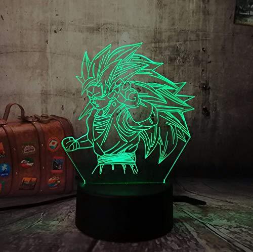 jiushixw 3D acryl nachtlampje met afstandsbediening van kleur veranderende tafellamp Dragon Ball Super Saiyan Sun Wukong geschenk tafellamp