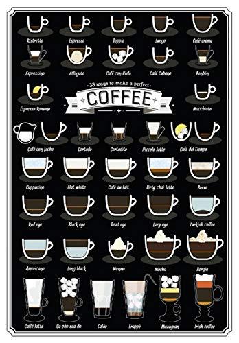 Metalen bord 20x30cm overzicht koffie soorten cafe bar koffie bistro bord