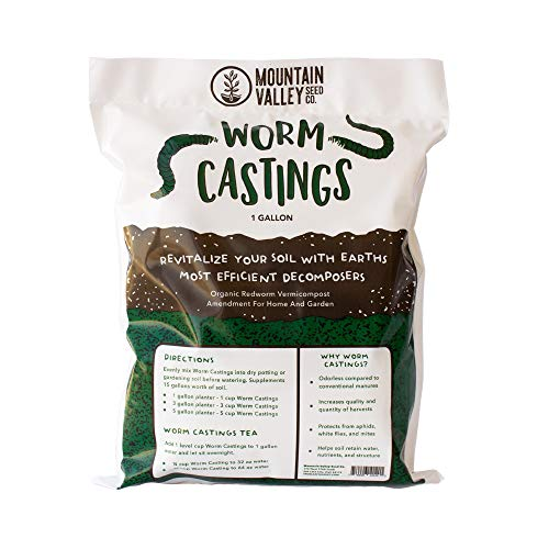 Earth Worm Castings – Organic Red Worm Compost Soil Amendment – .13 Cubic Foot ~6 Lbs – Approximately 1 Gallon – Organic Red Worm Vermiculture and Compost Home, Garden, Greenhouse, and Farm