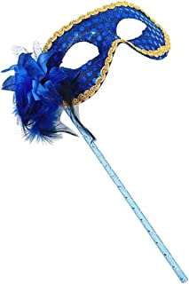 royal blue masquerade mask on stick