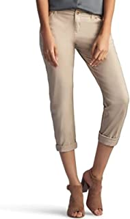 LEE Women's Eased Fit Embroidered Tailored Chino Ankle Pant