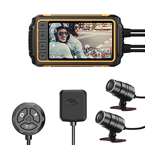 BaiTTang Grabación de Motocicletas Dash Lad Set - 3'Pantalla IPS GPS WiFi Host, cámara Frontal y Trasera 1080p Deportes Antideslizante, wdr, g-Sensor, visión Nocturna para Montaje al Aire Libre