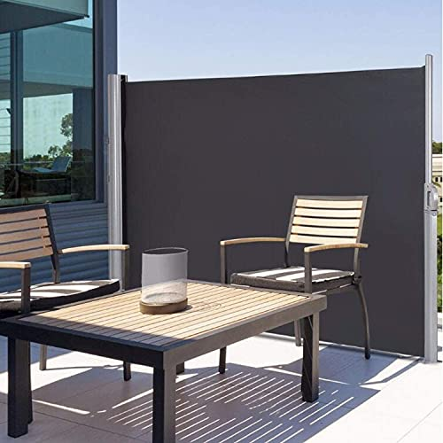 Outskirts Toldo Lateral para Valla de privacidad Toldo Lateral Impermeable para jardín Patio Patio retráctil - Diseñado Multifuncional (Color : Black)