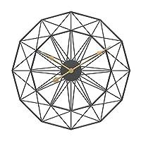 PYBHR 18〜20インチレトロなヨーロッパスタイルの壁掛け時計家庭用ベッドアイアンアート時計壁の装飾ブラックフレームウォルナットポインタ (色 : 緑)