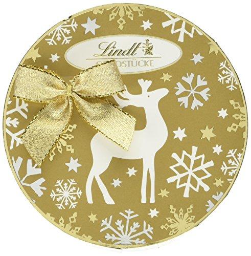 Lindt Goldstücke Rundschachtel, Chocoladen Kugeln in 3 weihnachtlichen Rezepturen: Bratapfel, Walnuss und Zimt & Koriander, 140g